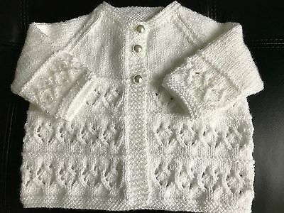 Hand knitted Baby Girl's White Shimmer Cardigan  fits 0-6 months 'NEW'
