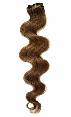 """Premium Clip In Remy Human Hair Body Wave Half Head Extensions 16""""Light Brown #6"""