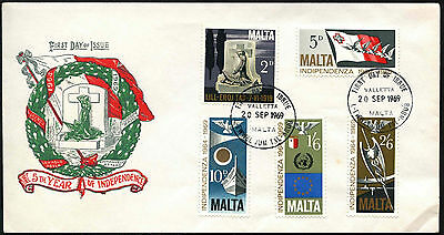 Malta 1969 5th Year Of Independence FDC First Day Cover #C42644