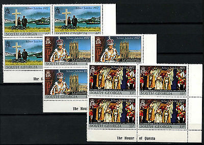 South Georgia 1977 Silver Jubilee MNH Corner Blocks Set #D51335