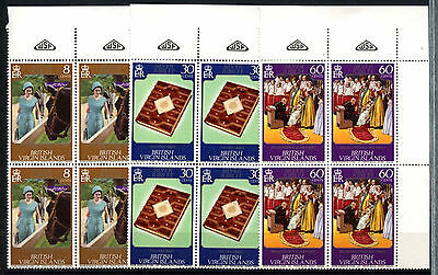 British Virgin Islands 1977 Silver Jubilee MNH Corner Blocks Set #D51320