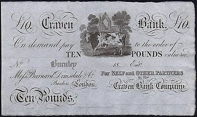 1800's CRAVEN BANK £10 BANKNOTE * UNISSUED REMAINDER * gEF * Ref 6 * Outing 366a