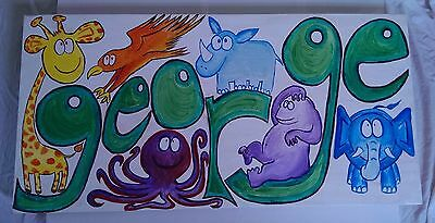 big canvas painting, ideal gift baby named George, name and animals for letters