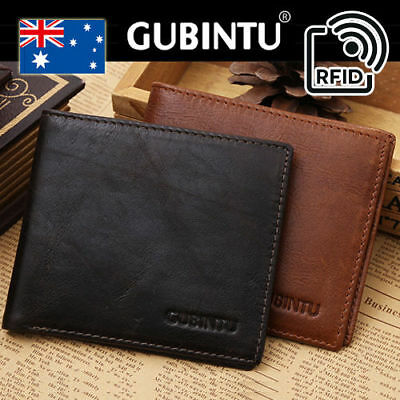 Genuine Leather Mens Wallet Purse Bifold Credit Card RFID Blocking Anti Scan AU