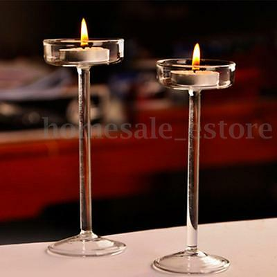 10X Elegant Crystal Glass Candle Holder Tealight Wedding Party Decor Candlestick