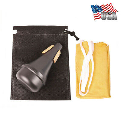 Black Lightweight Practice Trumpet Straight Mute Silencer  + Cloth + Carry Bag