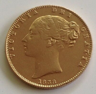 1838 GOLD SOVEREIGN QUEEN VICTORIA YOUNG HEAD SHIELD 1st Year Minted For Reign