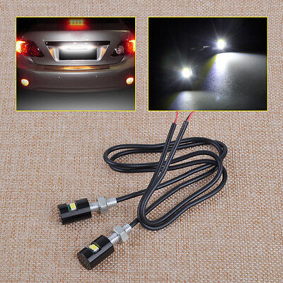 2x12V White LED SMD Motorcycle&Car License Plate Screw Bolt Light lamp bulb New