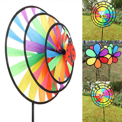 Rainbow Wind Spinner Colorful Stake Outdoor Yard Garden Decor Windmill Kids Toys
