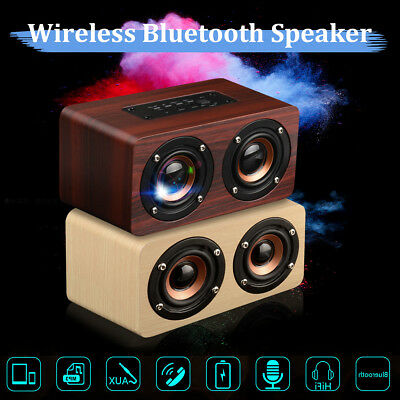 Ultra Bass Hifi Retro Wooden Wireless Bluetooth Speaker 3D Dual Loudspeakers