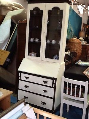 Lovely Solid Oak Vintage Shabby Chic Bookcase / Bureau