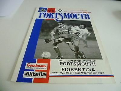 Portsmouth v Fiorentina Anglo Italian Cup Quarter Final Football Programme 1993