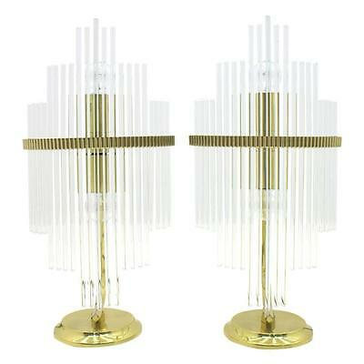 Pair of Geatano Sciolari Table Lamps, Glass and Brass, Italy, 1970s