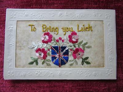 WW1 SILK Postcard To Bring You Luck Card The Great War