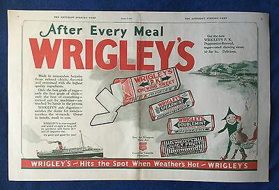 1922 Vintage Lot Magazine Double Pg Ads ~ Wrigley's Spearmint Chewing Gum