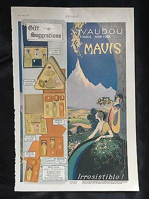 1920 Vintage Magazine Toiletry Art Deco Ad ~ Vivaudou ~ Mavis Perfume Paris