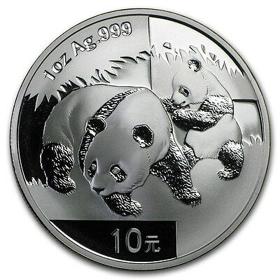 Chinese Mint China ¥ 10 Yuan Panda 2008 1 oz .999 Silver Coin