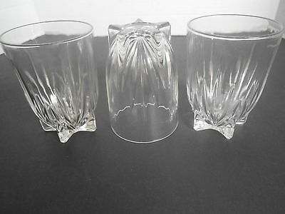 Vintage FEDERAL GLASS ' Star ' Clear Pattern 8 oz   Set of 3 Tumblers