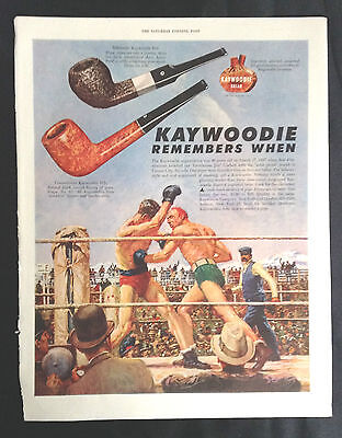 1947 Vintage Corbett Fitzsimmons Boxing Print~Kaywoodie Pipe Ad~a/s Norman Price