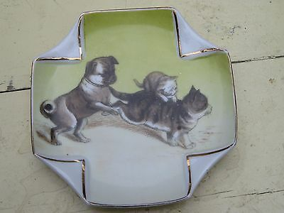 Vintage Small Pug Dog and Cat Porcelain Pin Tray Dish So Cute!