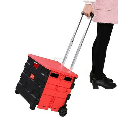 Foldable Folding Shopping Trolley Cart Portable Storage Box Rolling Trolley