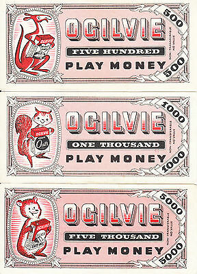 Canada Ogilvie 3 Different  Pink Play Money 1954