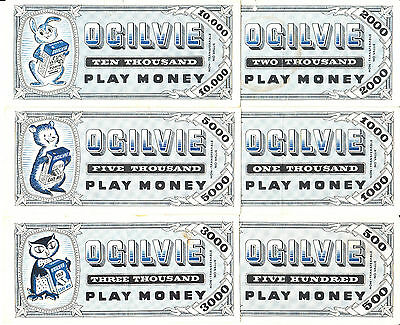 Canada Ogilvie 6 Different  Blue Play Money May 28 1955