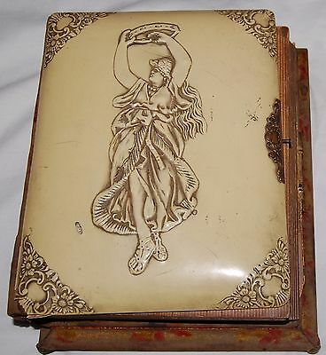Antique Victorian Carved Celluloid Cabinet Card Photo Album Music Box c1880's