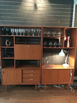 Pair Mid Century Retro Schreiber Teak Effect Room Divider Bookcase Unit