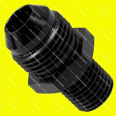 AN8 8AN Aluminium Straight Male Flare to M14x1.5 Metric Fitting Adapter - Black