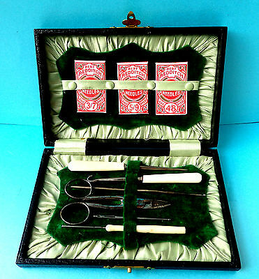 Antique Sewing Kit,carved Button  & Crochet Hooks,stiletto,,scissors,,needles.