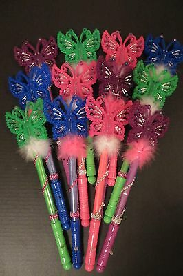 Hand Decorated Flashing LIGHT UP BUTTERFLY WANDS  3 Light Patterns Lot 12