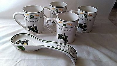 JOHN DEERE TRACTOR COFFEE CUP Set of 4 Gibson NOTHING RUNS LIKE A CUP MUGS LADLE