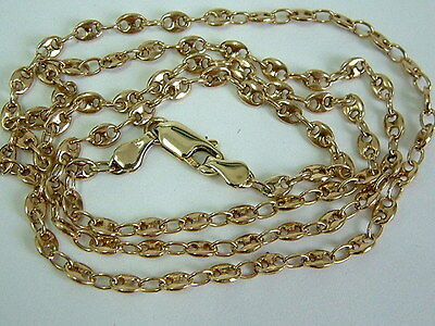Unusual Solid 9Ct Yellow Gold  Fancy Link Chain For Pendant - 23 Inches