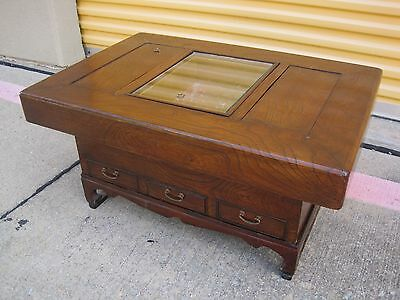Antique Vintage Japanese Hibachi Coffee Table Wood Copper Drawers & Base Stand
