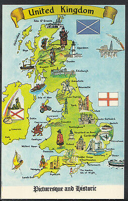 Maps Postcard - Picturesque & Historic Map of The United Kingdom RT396