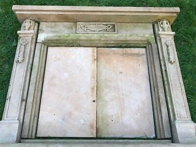 Large Georgian Style Handmade Carved Stone Fireplace Surround Floral Urns Hearth