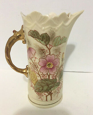 Small Antique Porcelain Victorian Floral Pattern Gilt Tea Pitcher Numbered