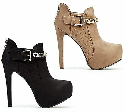 Ladies Concealed Platform High Heel Stiletto Gold Chain Ankle Boots Shoes Size