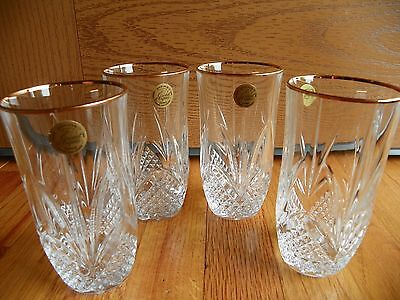 4 Cristal D'Arques France 24% Genuine Lead Crystal Garanti Beverage Glasses mint