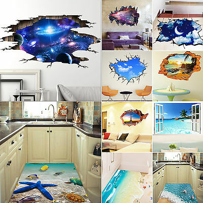 3D Sky Floor DIY Removable Art Vinyl Wall Stickers Decal Mural Home Room Decor
