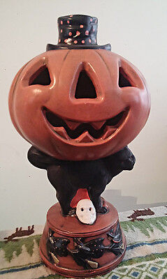 "14"" ceramic Halloween Jack O Lantern & Black cat hand painted lighted decoration"