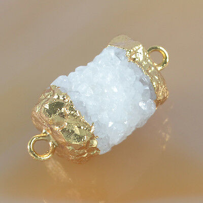 Column Rough Raw Natural Solar Quartz Stalactite Connector Gold Plated T033607