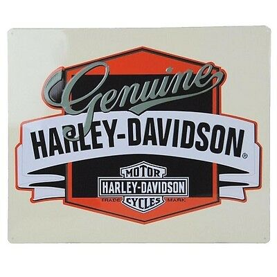 "Harley Davidson Genuine W/banner Embossed 17"" X 14"" Metal Sign-New W/tags"
