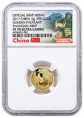 2017 China Golden Pheasant 3g Gold Proof NGC PF70 UC (Great Wall Label) SKU47669