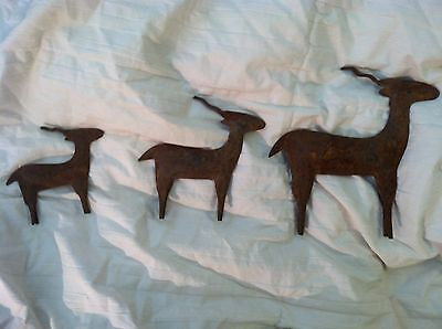"3 Antique Metal Deer Stylized Standing 7 1/4"" L Plus Free Carved Wood Horse"