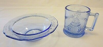 Tiara Blue Glass Nursery Rhyme Cup and Bowl