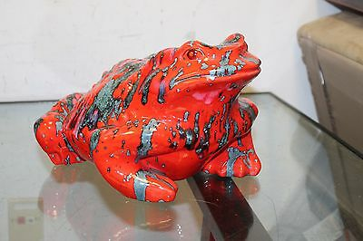 Vintage Ceramic FROG TOAD Large Garden Yard Statue Figurine Red Gray