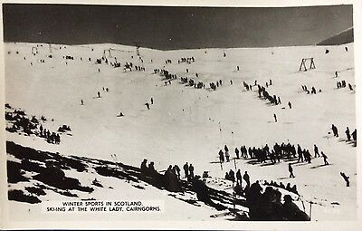 WINTER SPORTS on the WHITE LADY, SKIING, CAIRNGORMS - RPPC JB White of Dundee