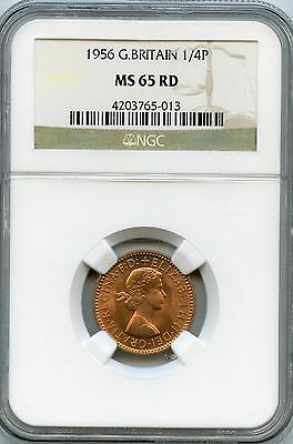 Amazing 1956 NGC MS65 RD Great Britain 1/4P NC992